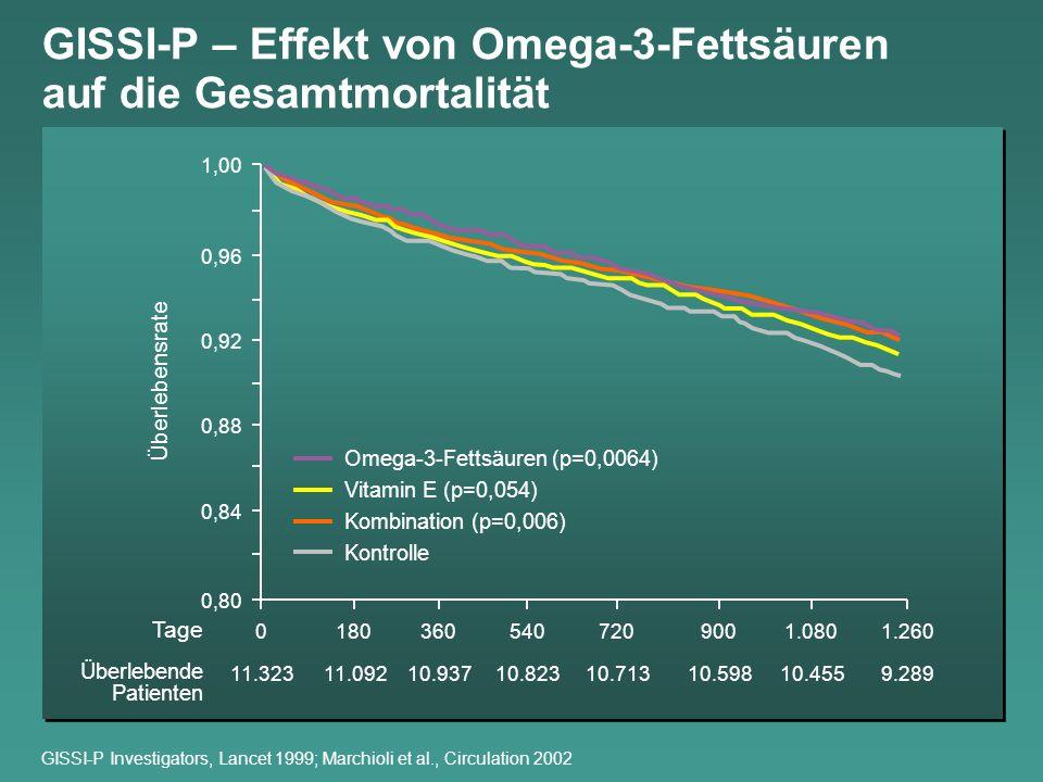 GISSI-P – Effekt von Omega-3-Fettsäuren auf die Gesamtmortalität
