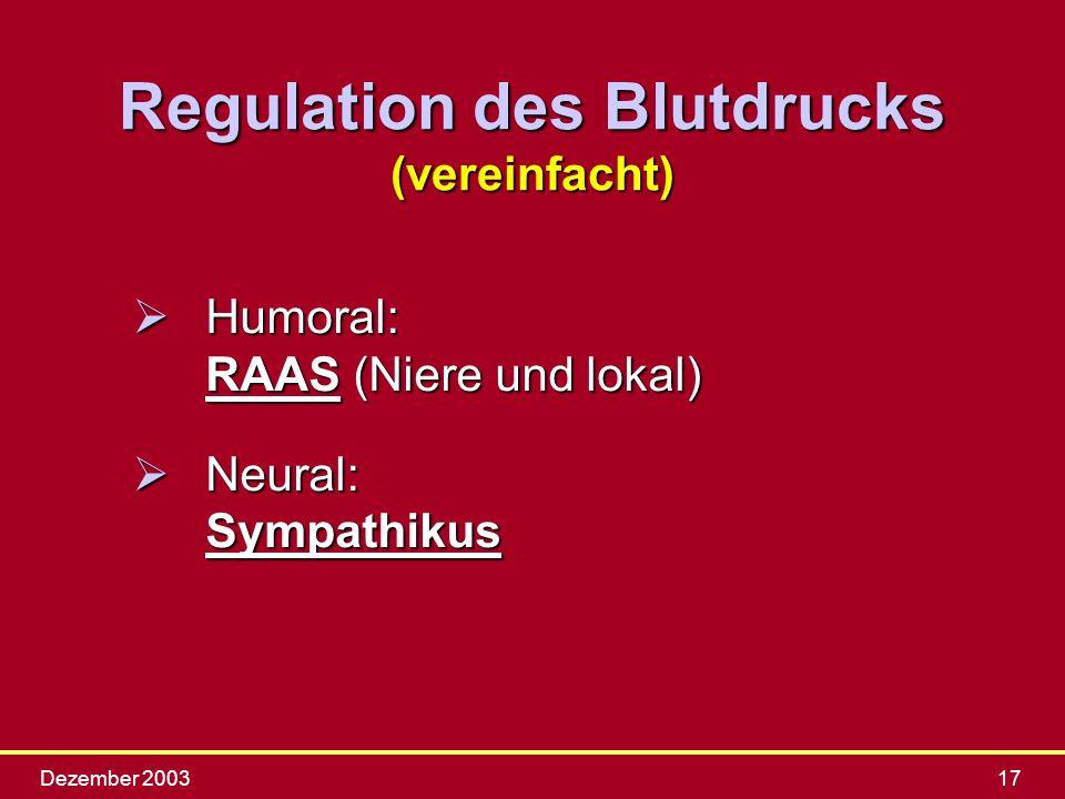 Regulation des Blutdrucks (vereinfacht)