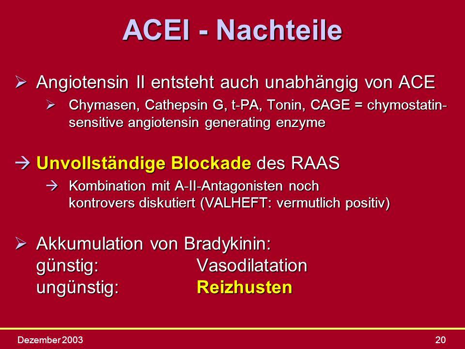 ACEI - Nachteile Angiotensin II entsteht auch unabhängig von ACE