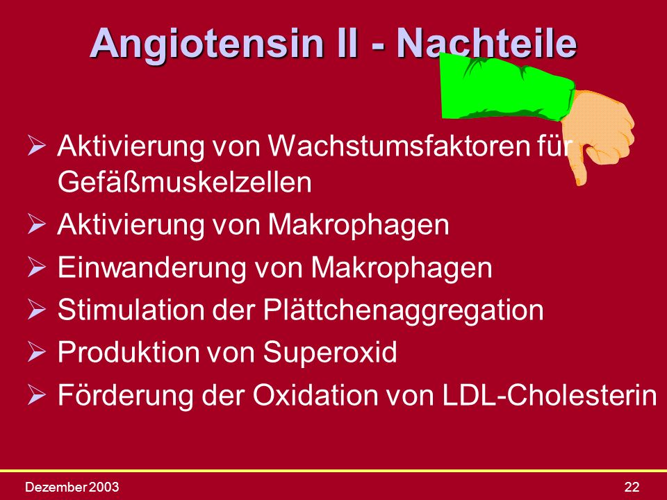 Angiotensin II - Nachteile
