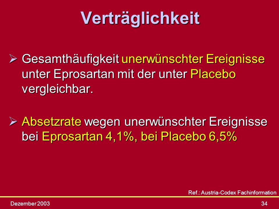 Verträglichkeit Gesamthäufigkeit unerwünschter Ereignisse unter Eprosartan mit der unter Placebo vergleichbar.