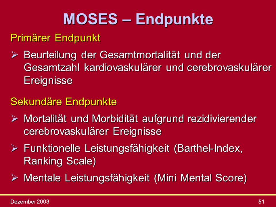 MOSES – Endpunkte Primärer Endpunkt