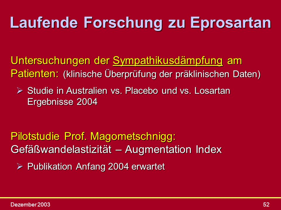 Laufende Forschung zu Eprosartan