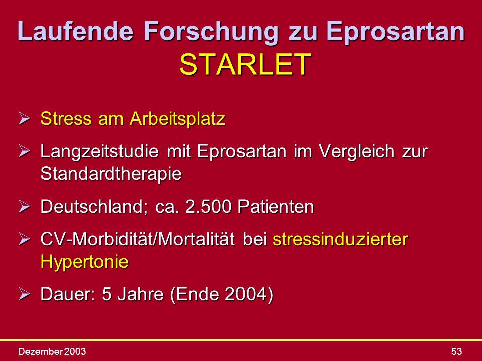 Laufende Forschung zu Eprosartan STARLET