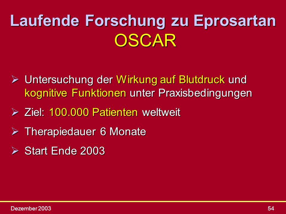 Laufende Forschung zu Eprosartan OSCAR