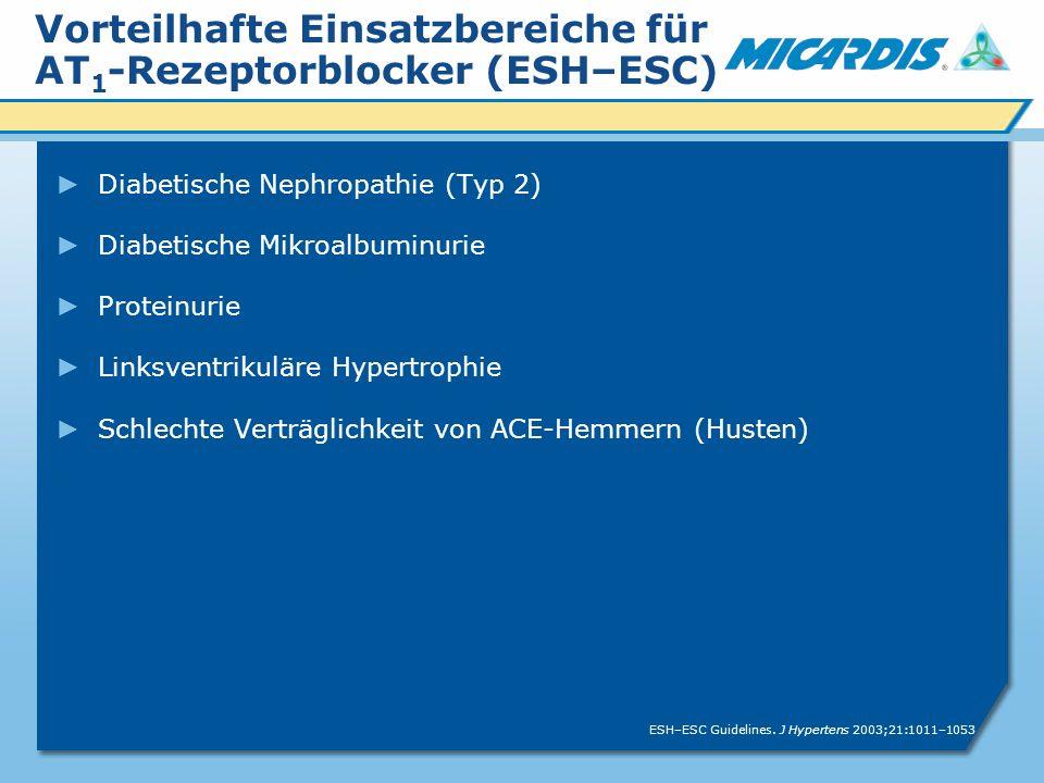 Vorteilhafte Einsatzbereiche für AT1-Rezeptorblocker (ESH–ESC)