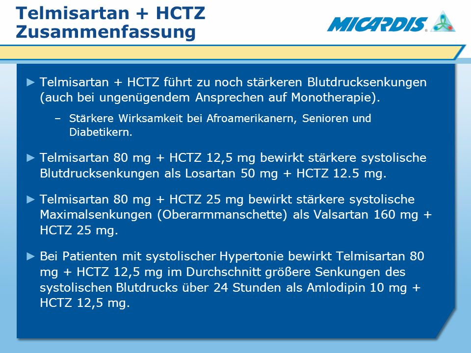 Telmisartan + HCTZ Zusammenfassung