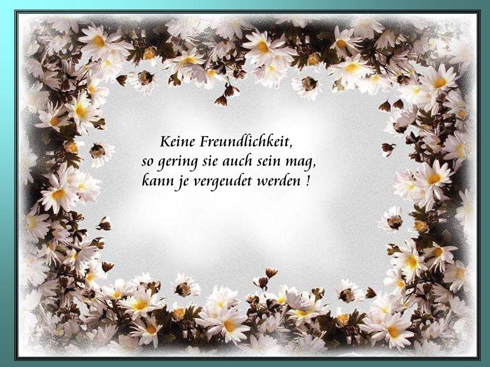 Keine Freundlichkeit, so gering sie auch sein mag, kann je vergeudet werden !