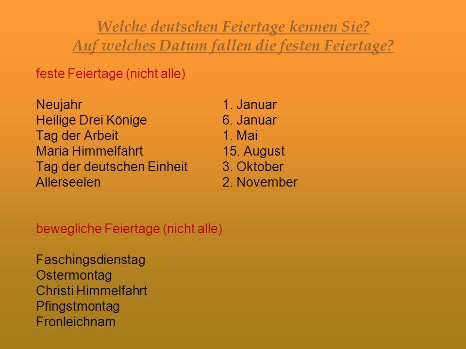 Welche deutschen Feiertage kennen Sie