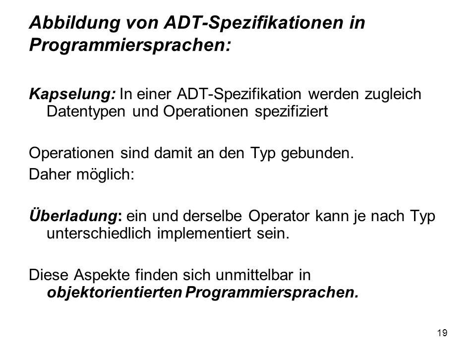 Abbildung von ADT-Spezifikationen in Programmiersprachen: