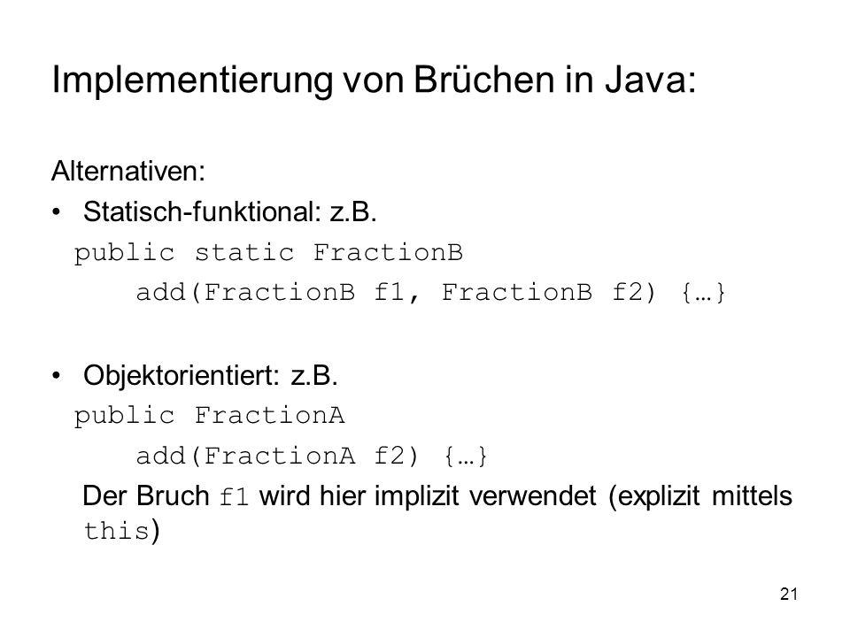 Implementierung von Brüchen in Java: