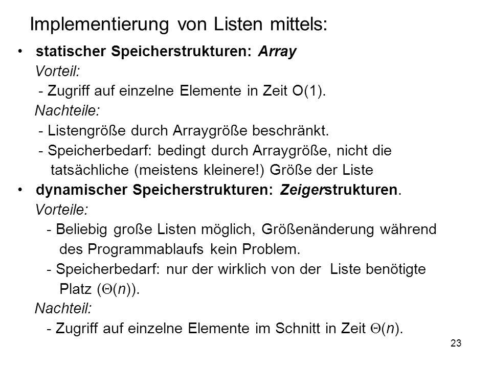 Implementierung von Listen mittels: