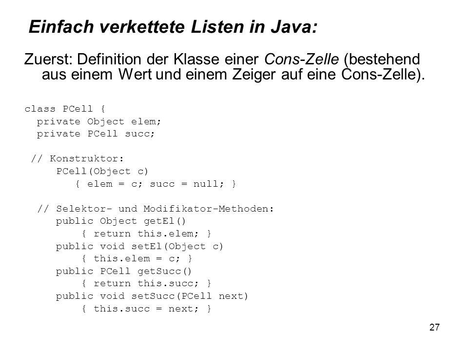 Einfach verkettete Listen in Java:
