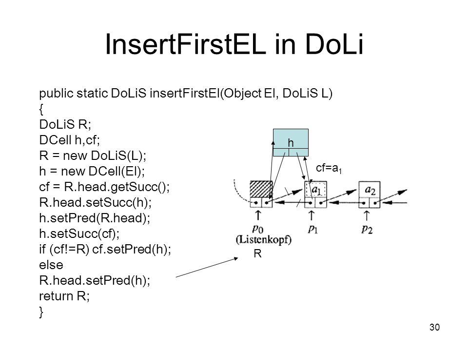 InsertFirstEL in DoLi public static DoLiS insertFirstEl(Object El, DoLiS L) { DoLiS R; DCell h,cf;