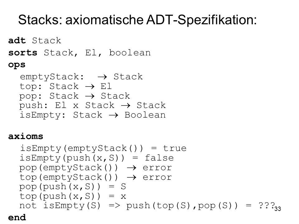 Stacks: axiomatische ADT-Spezifikation: