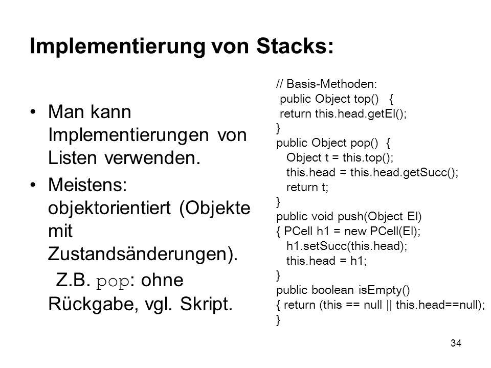 Implementierung von Stacks: