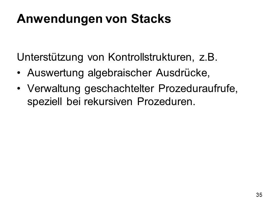Anwendungen von Stacks