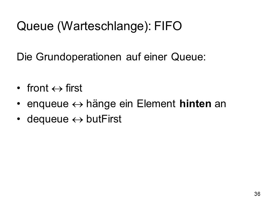 Queue (Warteschlange): FIFO