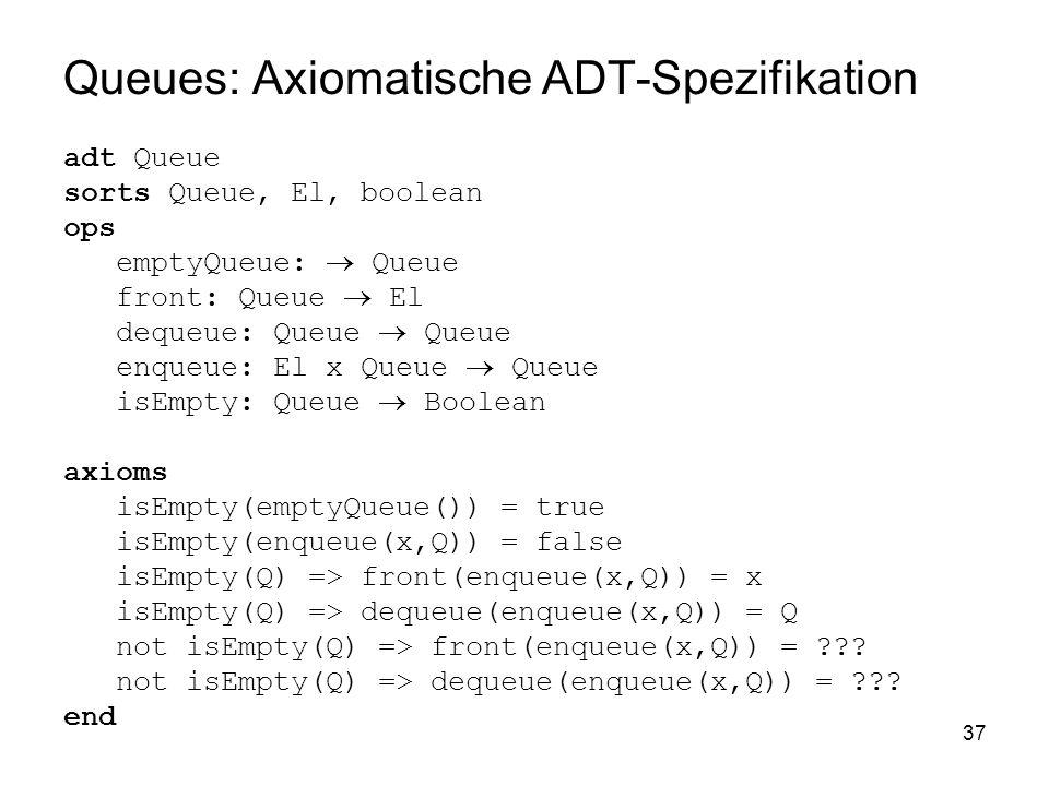 Queues: Axiomatische ADT-Spezifikation