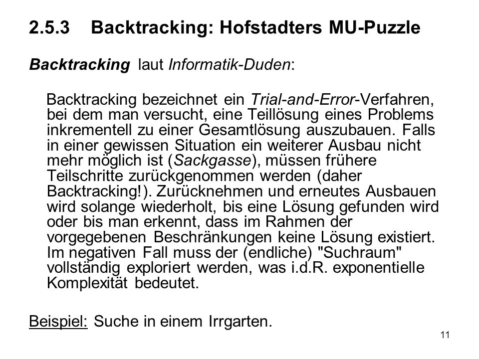 2.5.3 Backtracking: Hofstadters MU-Puzzle