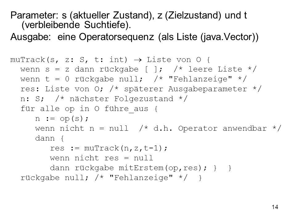 Ausgabe: eine Operatorsequenz (als Liste (java.Vector))