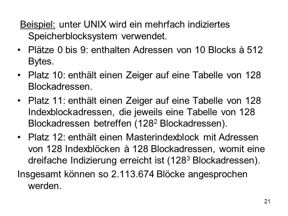 Beispiel: unter UNIX wird ein mehrfach indiziertes Speicherblocksystem verwendet.