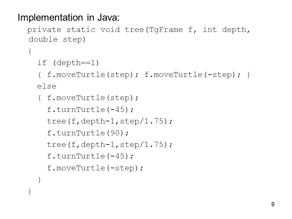 Implementation in Java: