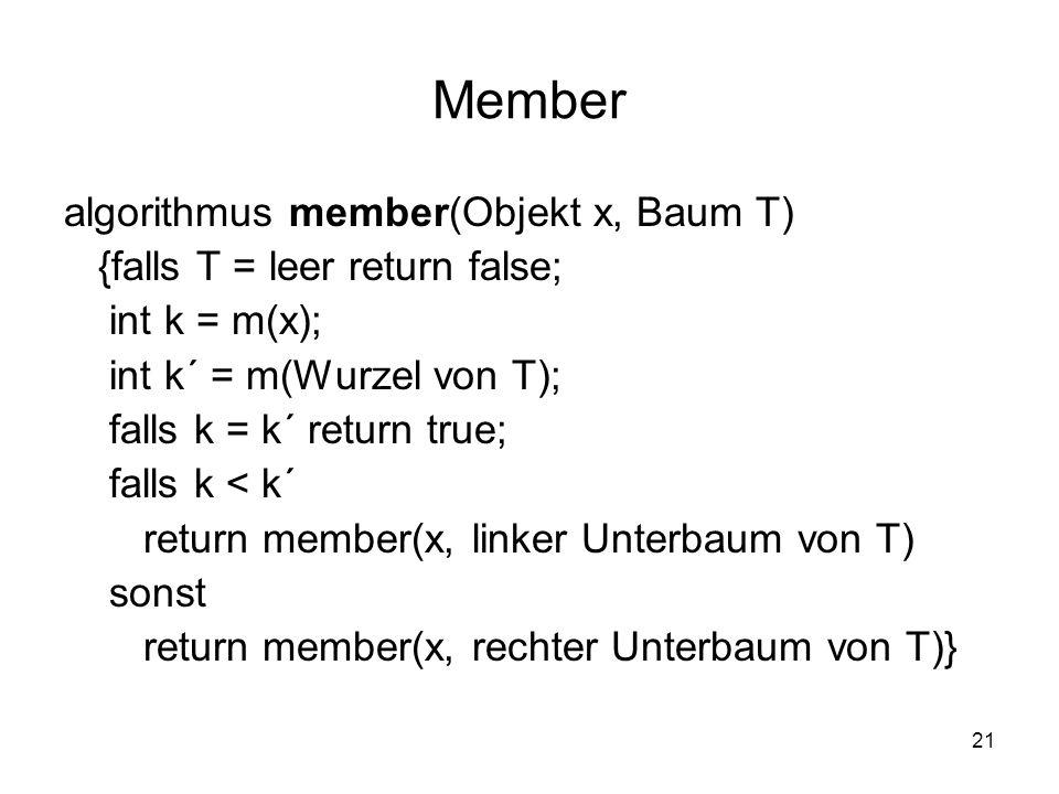 Member algorithmus member(Objekt x, Baum T)