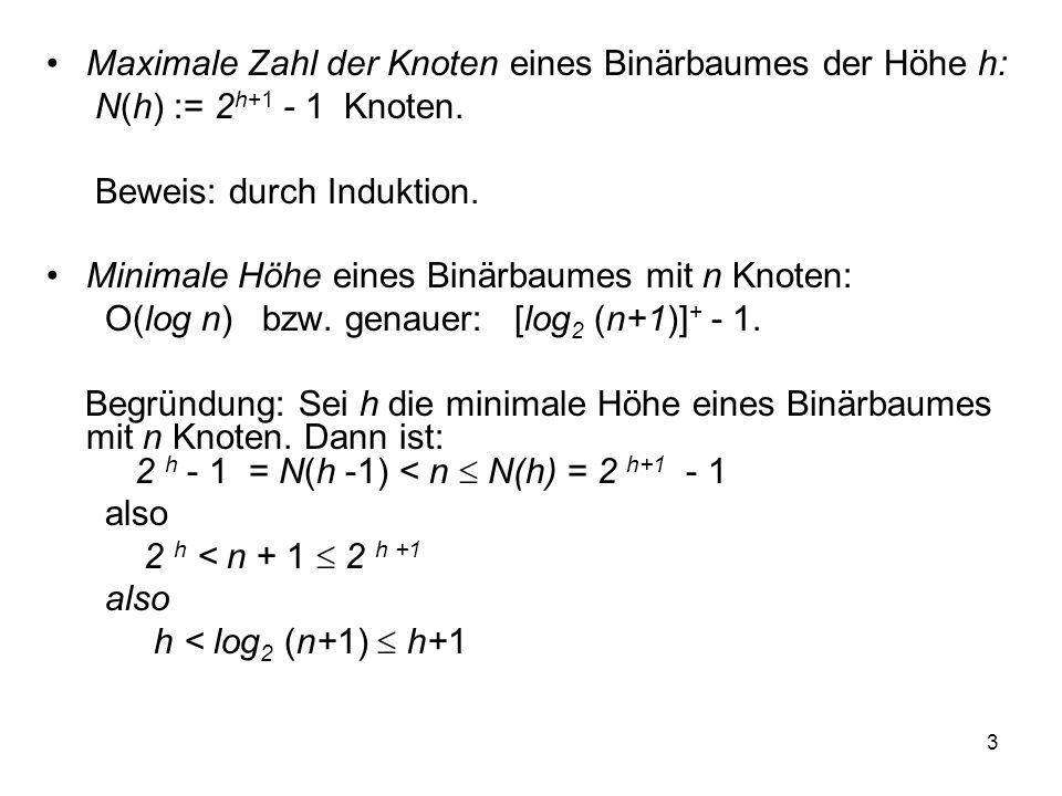 Maximale Zahl der Knoten eines Binärbaumes der Höhe h: