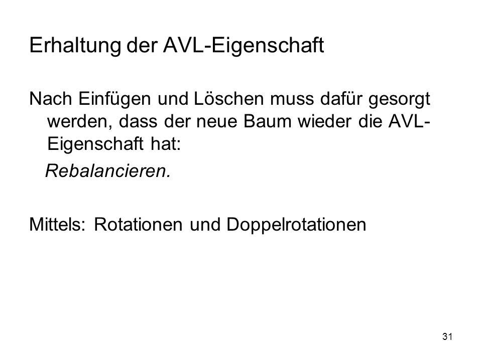 Erhaltung der AVL-Eigenschaft