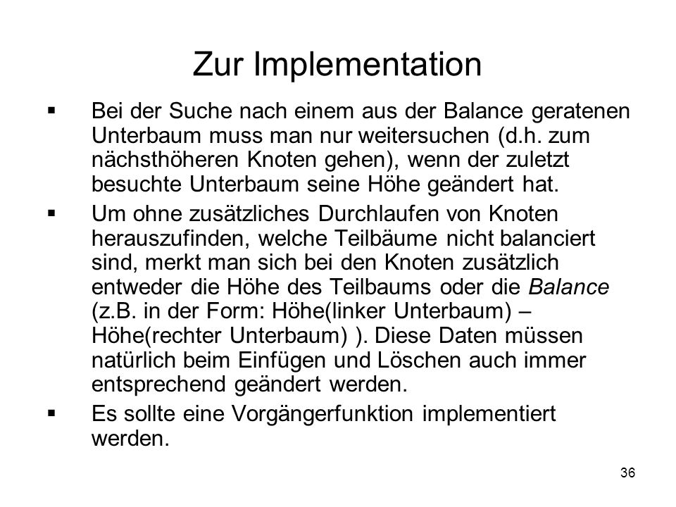 Zur Implementation