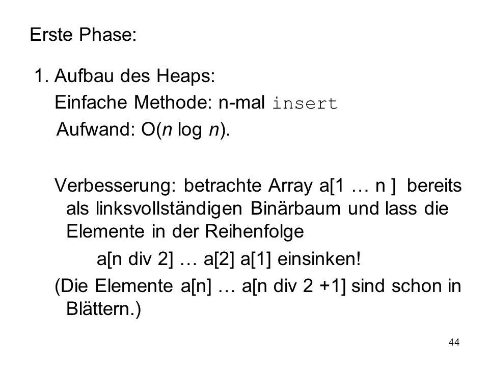 Erste Phase: 1. Aufbau des Heaps: Einfache Methode: n-mal insert. Aufwand: O(n log n).