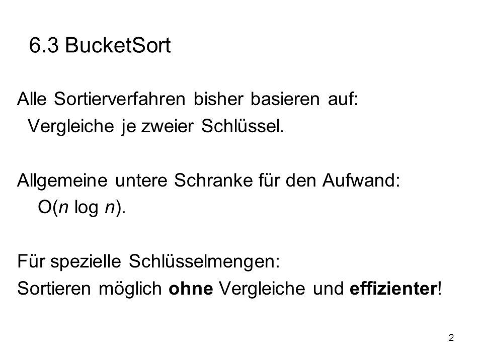 6.3 BucketSort Alle Sortierverfahren bisher basieren auf: