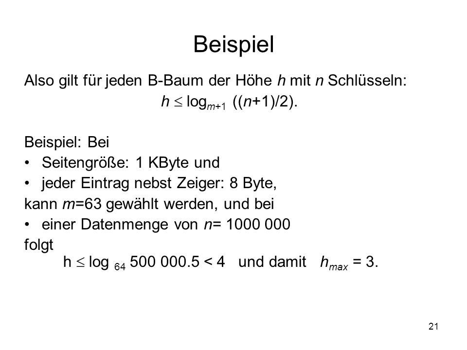 Beispiel Also gilt für jeden B-Baum der Höhe h mit n Schlüsseln: