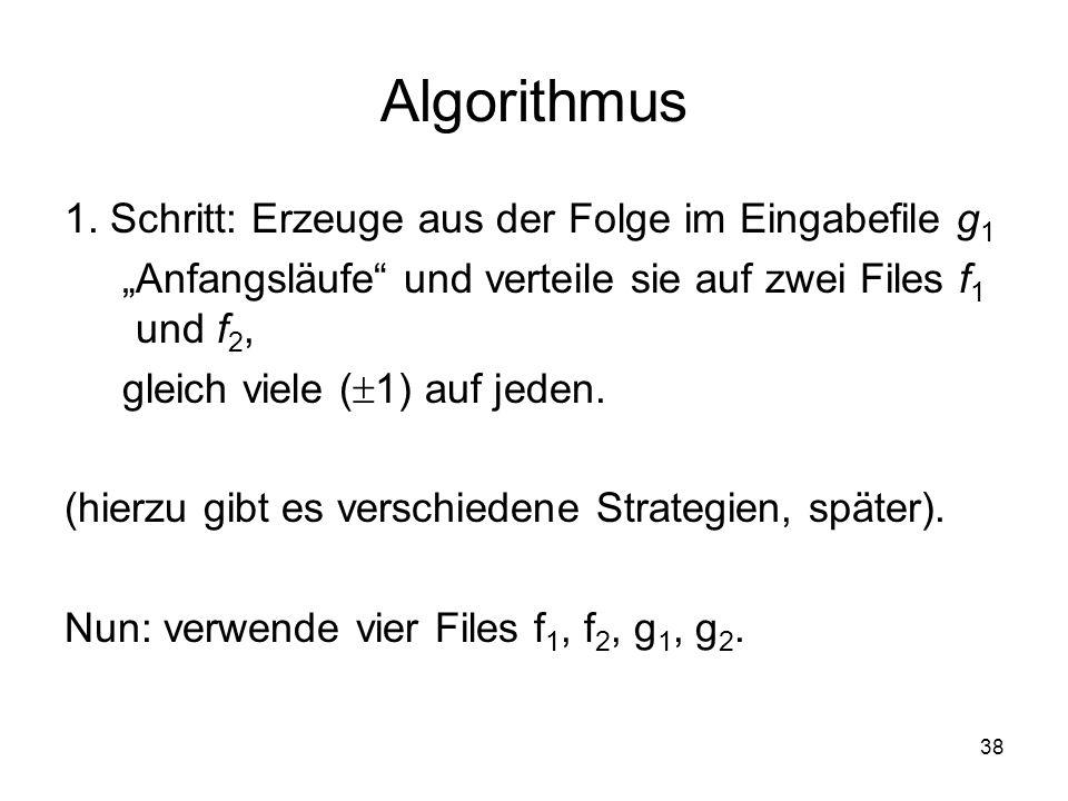 Algorithmus 1. Schritt: Erzeuge aus der Folge im Eingabefile g1