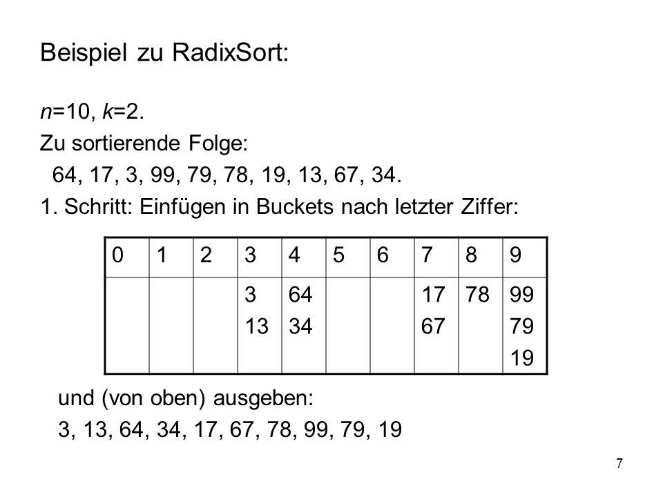 Beispiel zu RadixSort: