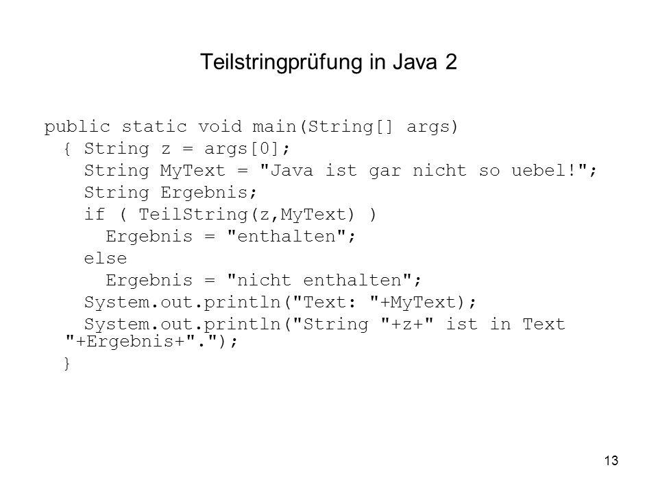 Teilstringprüfung in Java 2