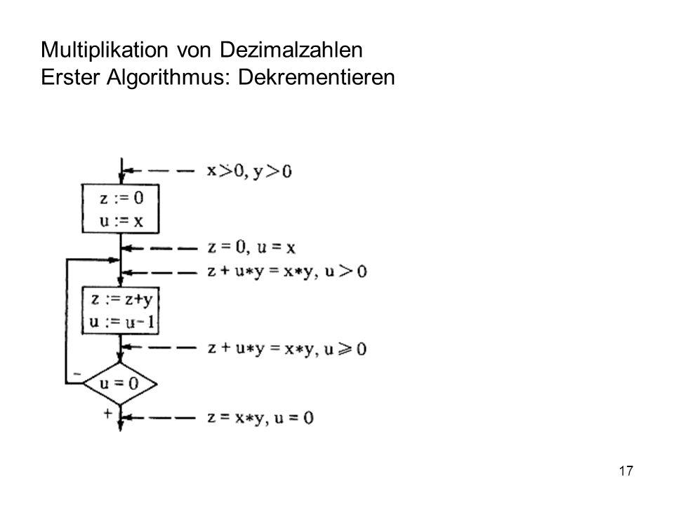 Multiplikation von Dezimalzahlen Erster Algorithmus: Dekrementieren