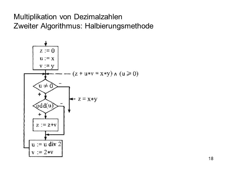 Multiplikation von Dezimalzahlen Zweiter Algorithmus: Halbierungsmethode
