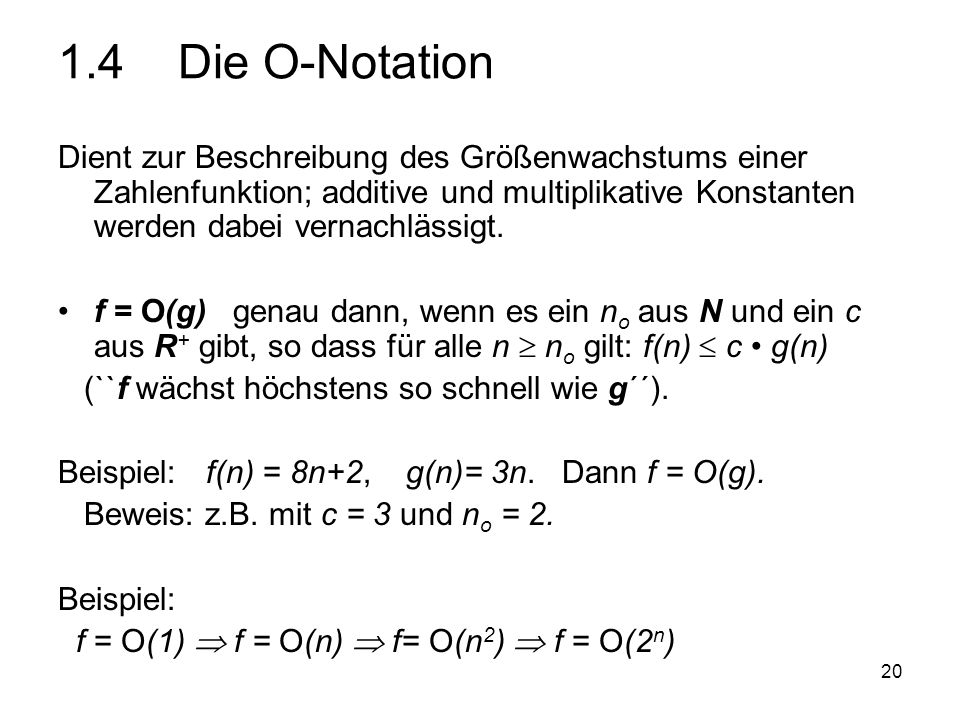 1.4 Die O-Notation