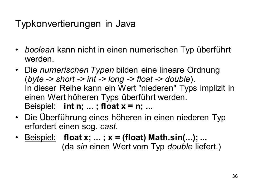 Typkonvertierungen in Java