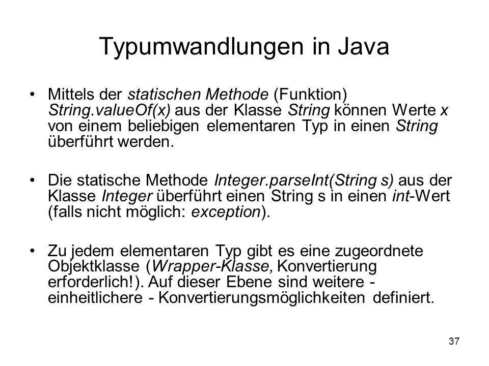Typumwandlungen in Java