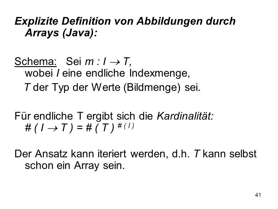 Explizite Definition von Abbildungen durch Arrays (Java):