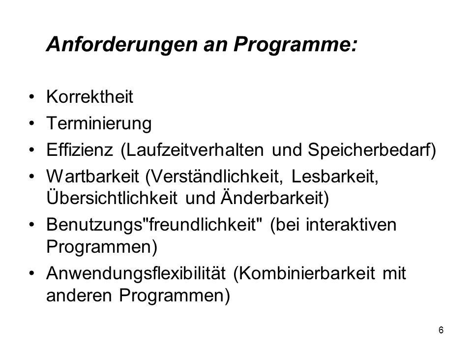 Anforderungen an Programme: