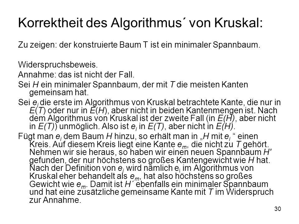 Korrektheit des Algorithmus´ von Kruskal: