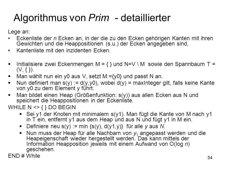 Algorithmus von Prim - detaillierter