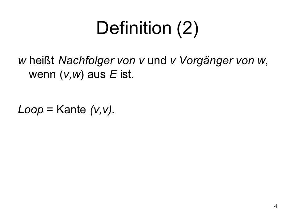 Definition (2) w heißt Nachfolger von v und v Vorgänger von w, wenn (v,w) aus E ist.