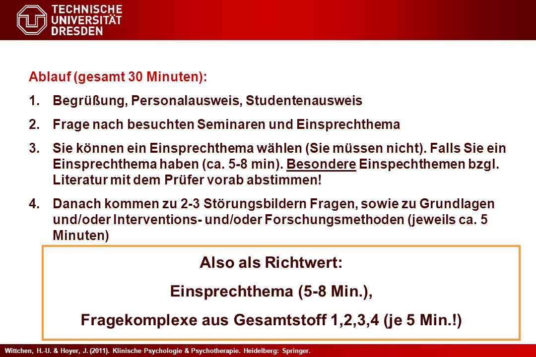 Einsprechthema (5-8 Min.),