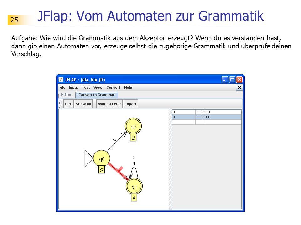 JFlap: Vom Automaten zur Grammatik