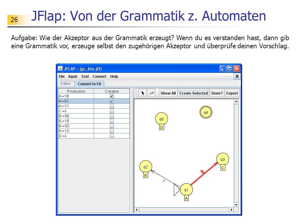 JFlap: Von der Grammatik z. Automaten